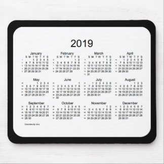 52 Weeks 2019 Calendar Black and White Mousepad