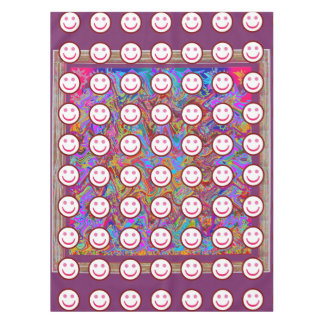"52""x70"" tablecloth Colorful Abstract Smiley Art"