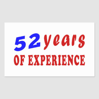 52 years of experience rectangle stickers