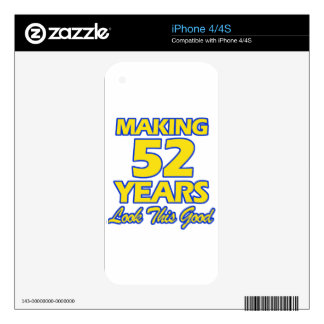 52 YEARS OLD BIRTHDAY DESIGNS iPhone 4S DECAL