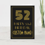 """[ Thumbnail: 52nd Birthday: Art Deco Inspired Look """"52"""" & Name Card ]"""
