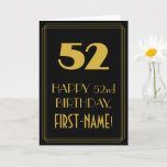 """[ Thumbnail: 52nd Birthday – Art Deco Inspired Look """"52"""" & Name Card ]"""
