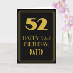 """[ Thumbnail: 52nd Birthday ~ Art Deco Inspired Look """"52"""" & Name Card ]"""