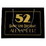 "[ Thumbnail: 52nd Birthday — Art Deco Inspired Look ""52"" & Name Gift Bag ]"