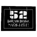 "[ Thumbnail: 52nd Birthday ~ Art Deco Inspired Look ""52"" + Name Gift Bag ]"
