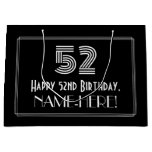 "[ Thumbnail: 52nd Birthday — Art Deco Inspired Look ""52"" & Name Gift Bag ]"