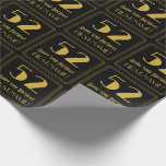 """[ Thumbnail: 52nd Birthday ~ Art Deco Inspired Look """"52"""", Name Wrapping Paper ]"""