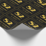"""[ Thumbnail: 52nd Birthday – Art Deco Inspired Look """"52"""" & Name Wrapping Paper ]"""