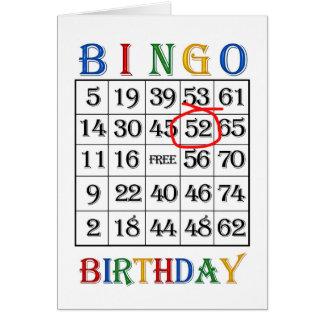 52nd Birthday Bingo card