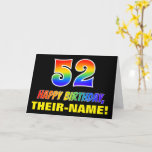 [ Thumbnail: 52nd Birthday: Bold, Fun, Simple, Rainbow 52 Card ]