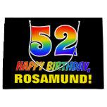 [ Thumbnail: 52nd Birthday: Bold, Fun, Simple, Rainbow 52 Gift Bag ]