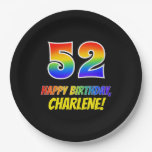 [ Thumbnail: 52nd Birthday: Bold, Fun, Simple, Rainbow 52 Paper Plate ]