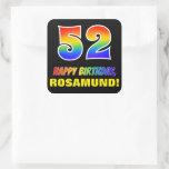 [ Thumbnail: 52nd Birthday: Bold, Fun, Simple, Rainbow 52 Sticker ]
