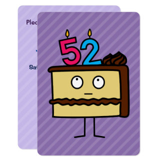 52nd Birthday Cake with Candles Card