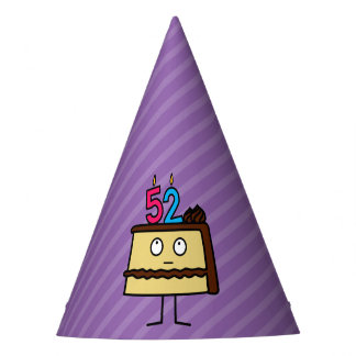 52nd Birthday Cake with Candles Party Hat
