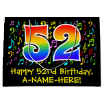 [ Thumbnail: 52nd Birthday - Colorful Music Symbols, Rainbow 52 Gift Bag ]