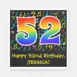 [ Thumbnail: 52nd Birthday - Colorful Music Symbols, Rainbow 52 Napkins ]
