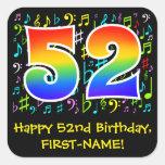 [ Thumbnail: 52nd Birthday: Colorful Music Symbols, Rainbow 52 Sticker ]