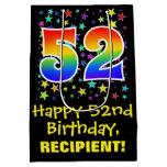 [ Thumbnail: 52nd Birthday: Colorful Stars Pattern & Rainbow 52 Gift Bag ]