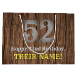 [ Thumbnail: 52nd Birthday: Country Western Inspired Look, Name Gift Bag ]