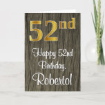 [ Thumbnail: 52nd Birthday: Elegant Faux Gold Look #, Faux Wood Card ]