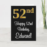 [ Thumbnail: 52nd Birthday ~ Elegant Luxurious Faux Gold Look # Card ]