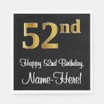 [ Thumbnail: 52nd Birthday ~ Elegant Luxurious Faux Gold Look # Napkins ]