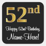 [ Thumbnail: 52nd Birthday – Elegant Luxurious Faux Gold Look # Sticker ]