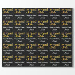 [ Thumbnail: 52nd Birthday: Elegant Luxurious Faux Gold Look # Wrapping Paper ]