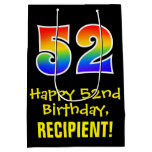 "[ Thumbnail: 52nd Birthday: Fun, Bold, Colorful, Rainbow ""52"" Gift Bag ]"