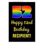 [ Thumbnail: 52nd Birthday: Fun, Colorful, Happy, Rainbow # 52 Card ]