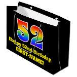[ Thumbnail: 52nd Birthday ~ Fun, Colorful, Vibrant, Rainbow 52 Gift Bag ]