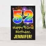 [ Thumbnail: 52nd Birthday: Fun Fireworks Pattern + Rainbow 52 Card ]