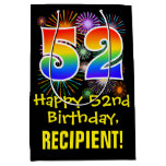 [ Thumbnail: 52nd Birthday: Fun Fireworks Pattern + Rainbow 52 Gift Bag ]