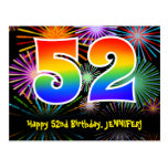 [ Thumbnail: 52nd Birthday – Fun Fireworks Pattern + Rainbow 52 Postcard ]