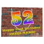 [ Thumbnail: 52nd Birthday: Fun, Graffiti-Inspired Rainbow # 52 Gift Bag ]