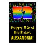 [ Thumbnail: 52nd Birthday: Fun Music Symbols + Rainbow # 52 Card ]