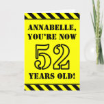 [ Thumbnail: 52nd Birthday: Fun Stencil Style Text, Custom Name Card ]