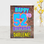 [ Thumbnail: 52nd Birthday - Fun, Urban Graffiti Inspired Look Card ]