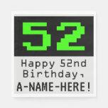 "[ Thumbnail: 52nd Birthday - Nerdy / Geeky Style ""52"" & Name Napkins ]"