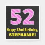 "[ Thumbnail: 52nd Birthday: Pink Stripes and Hearts ""52"" + Name Napkins ]"