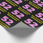"[ Thumbnail: 52nd Birthday: Pink Stripes and Hearts ""52"" + Name Wrapping Paper ]"