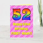 [ Thumbnail: 52nd Birthday: Pink Stripes & Hearts, Rainbow # 52 Card ]