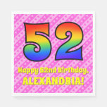 [ Thumbnail: 52nd Birthday: Pink Stripes & Hearts, Rainbow # 52 Napkins ]