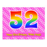 [ Thumbnail: 52nd Birthday: Pink Stripes & Hearts, Rainbow 52 Postcard ]