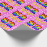 [ Thumbnail: 52nd Birthday: Pink Stripes & Hearts, Rainbow # 52 Wrapping Paper ]