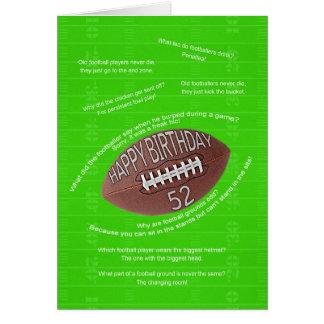 52nd birthday, really bad football jokes card