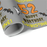 [ Thumbnail: 52nd Birthday: Spooky Halloween Theme, Custom Name Wrapping Paper ]