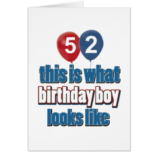 52nd year old birthday designs card