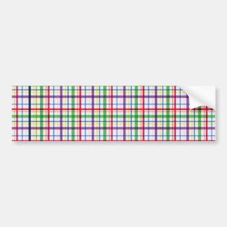 5305_plaid-11-bright COLOURFUL PLAID PATTERN TINY Bumper Sticker